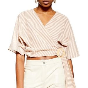 top shop buckle wrap crop top